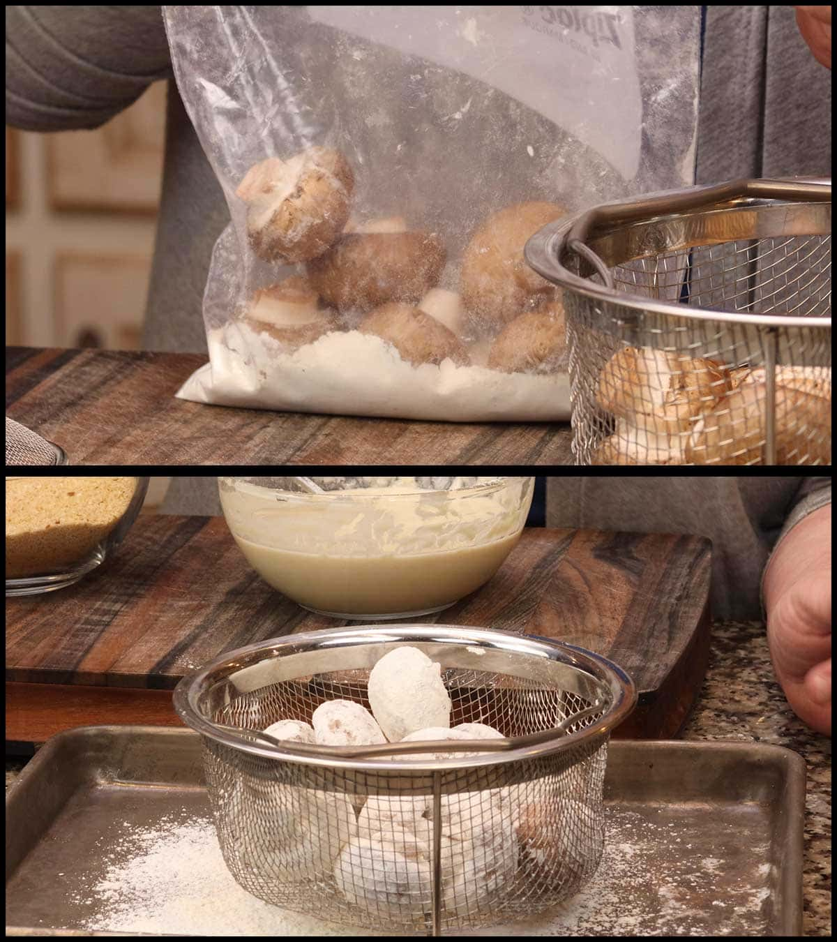 coating the mushrooms with flour