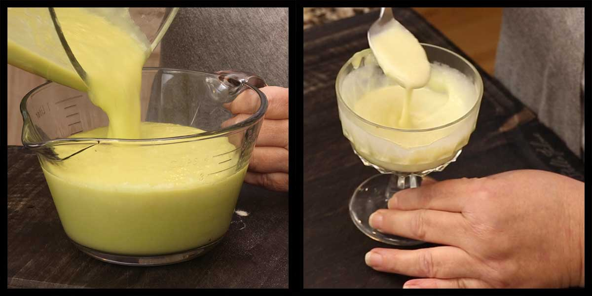 finished condensed cream of celery being poured into a container and a bowl of soup with cream added