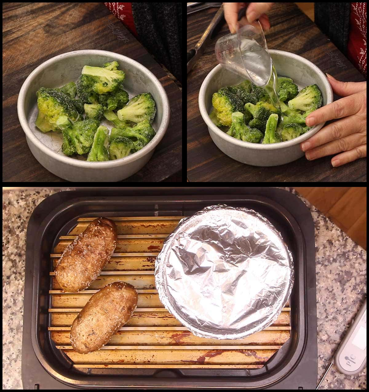 getting broccoli in pan with water to steam in the grill