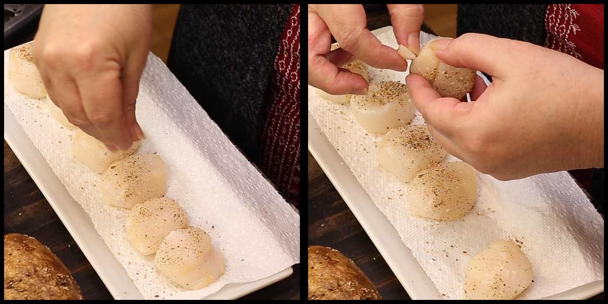 removing the abductor muscle and seasoning the scallops