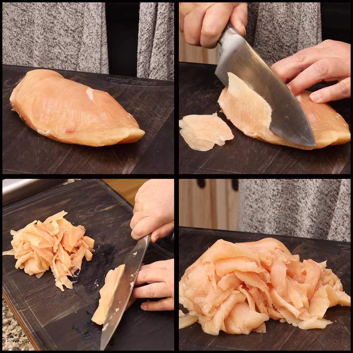 slicing chicken for chicken cheesesteaks