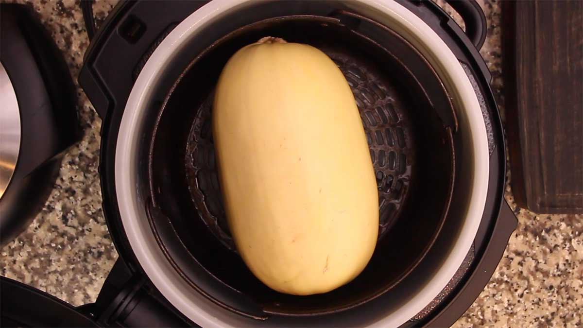 spaghetti squash in basket of ninja foodi