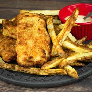 Air fryer fish & Chips on a plate