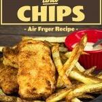 Air Fryer Fish & Chips on a platter with tartar sauce