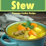 Irish stew in a blue bowl with parsley garnish