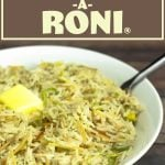 homemade rice a roni in a white bowl
