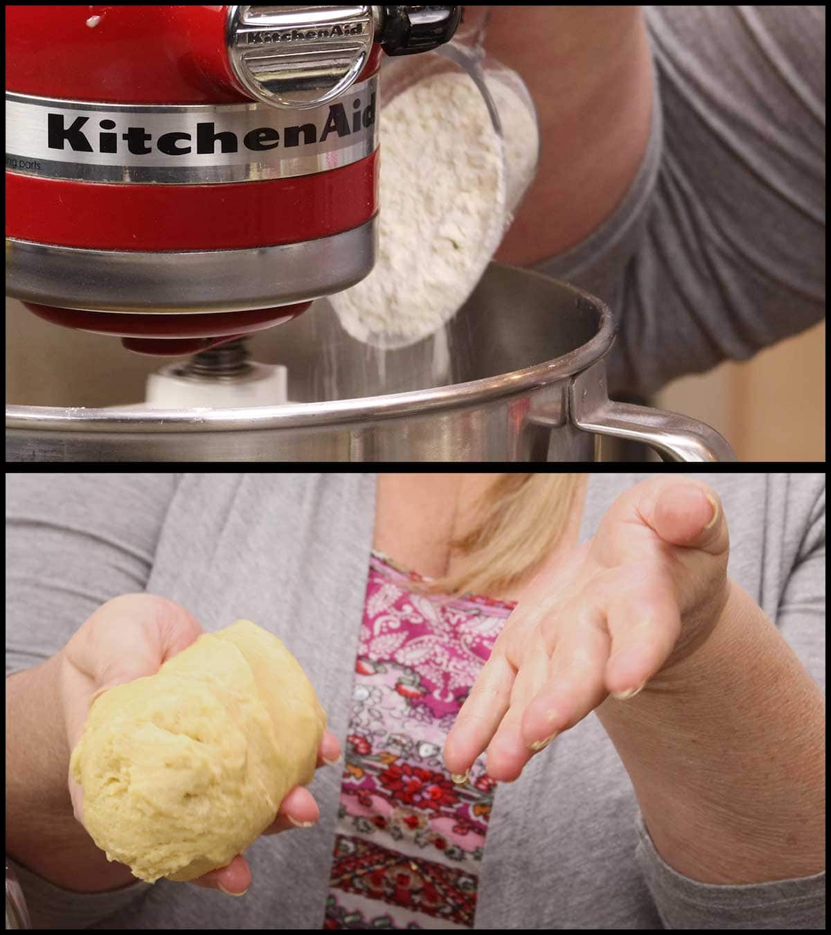 adding flour and showing dough not sticking to hands