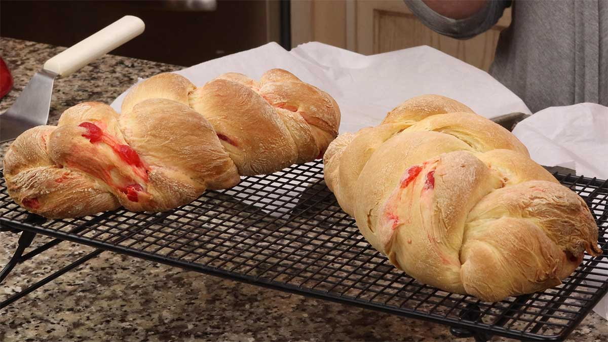 baked bread cooling on cooling racks