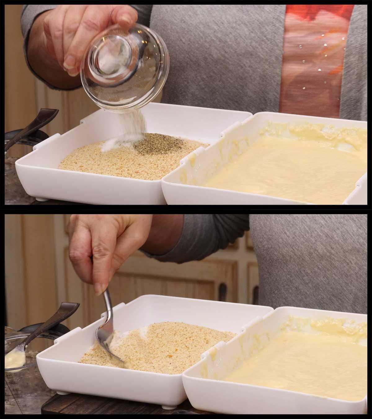 mixing seasonings in breadcrumbs