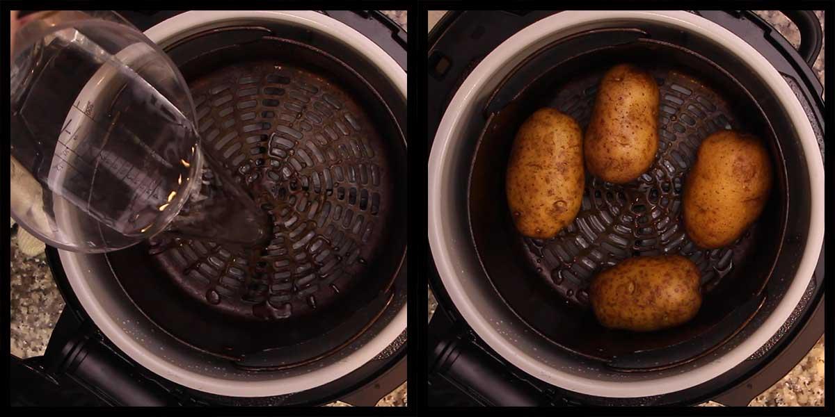 potatoes in basket before pressure cooking