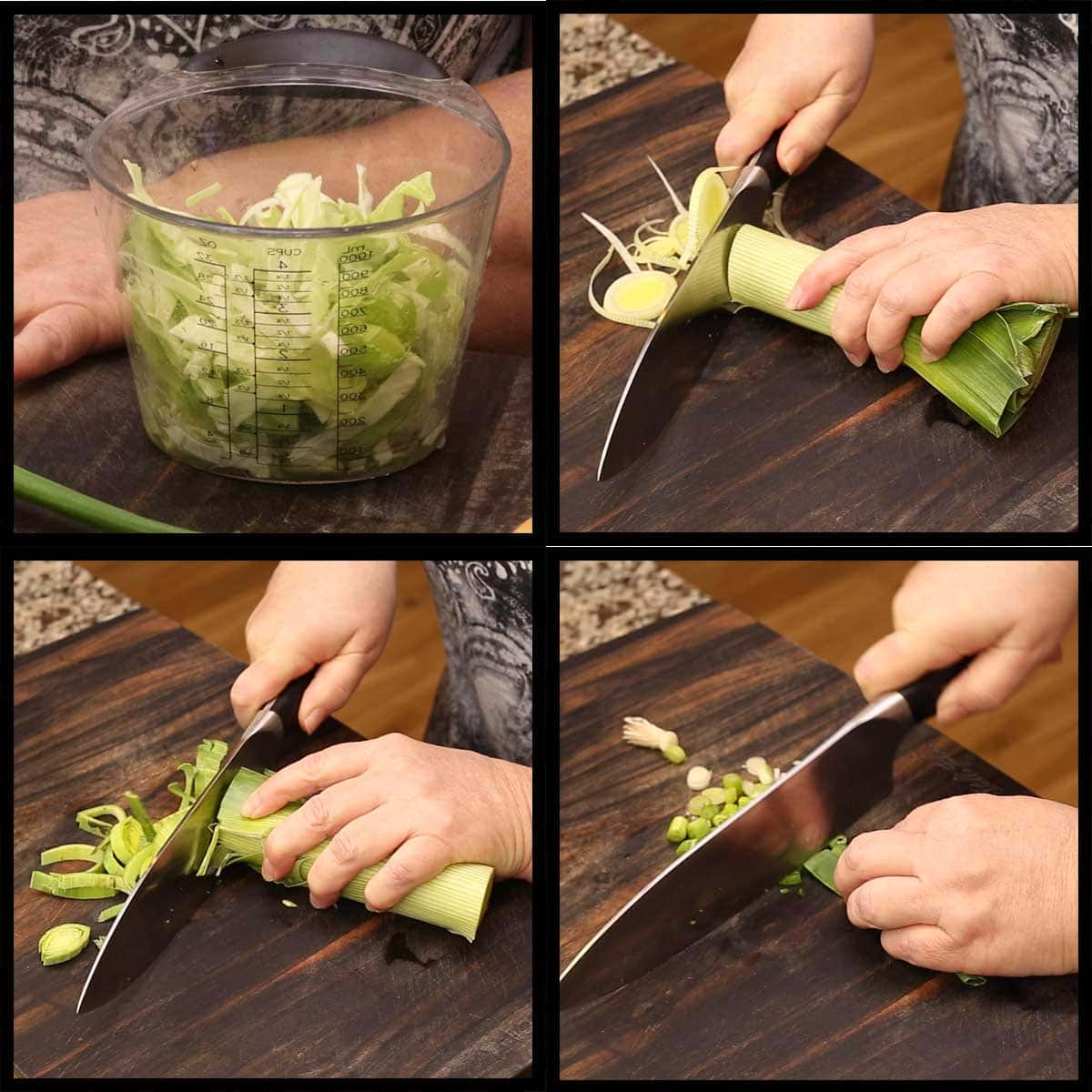 slicing the leek for colcannon