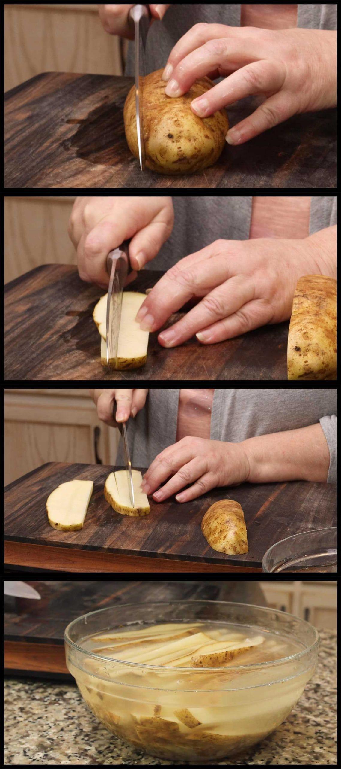 cutting the potatoes