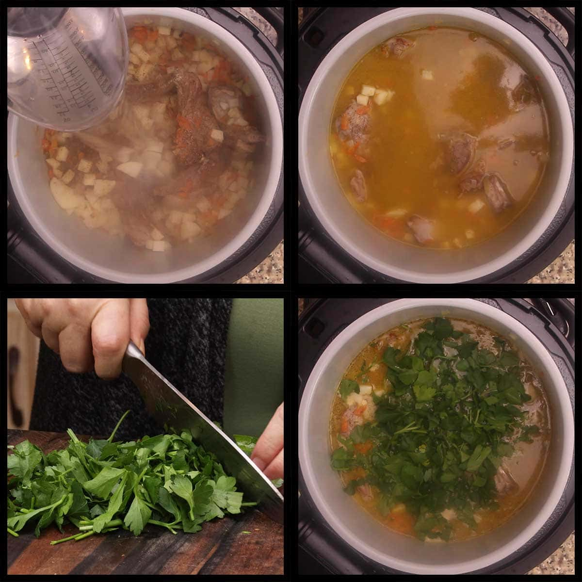 deglazing the pot and adding parsley