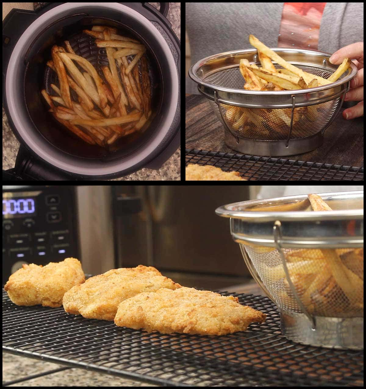 removing fries and putting into a basket