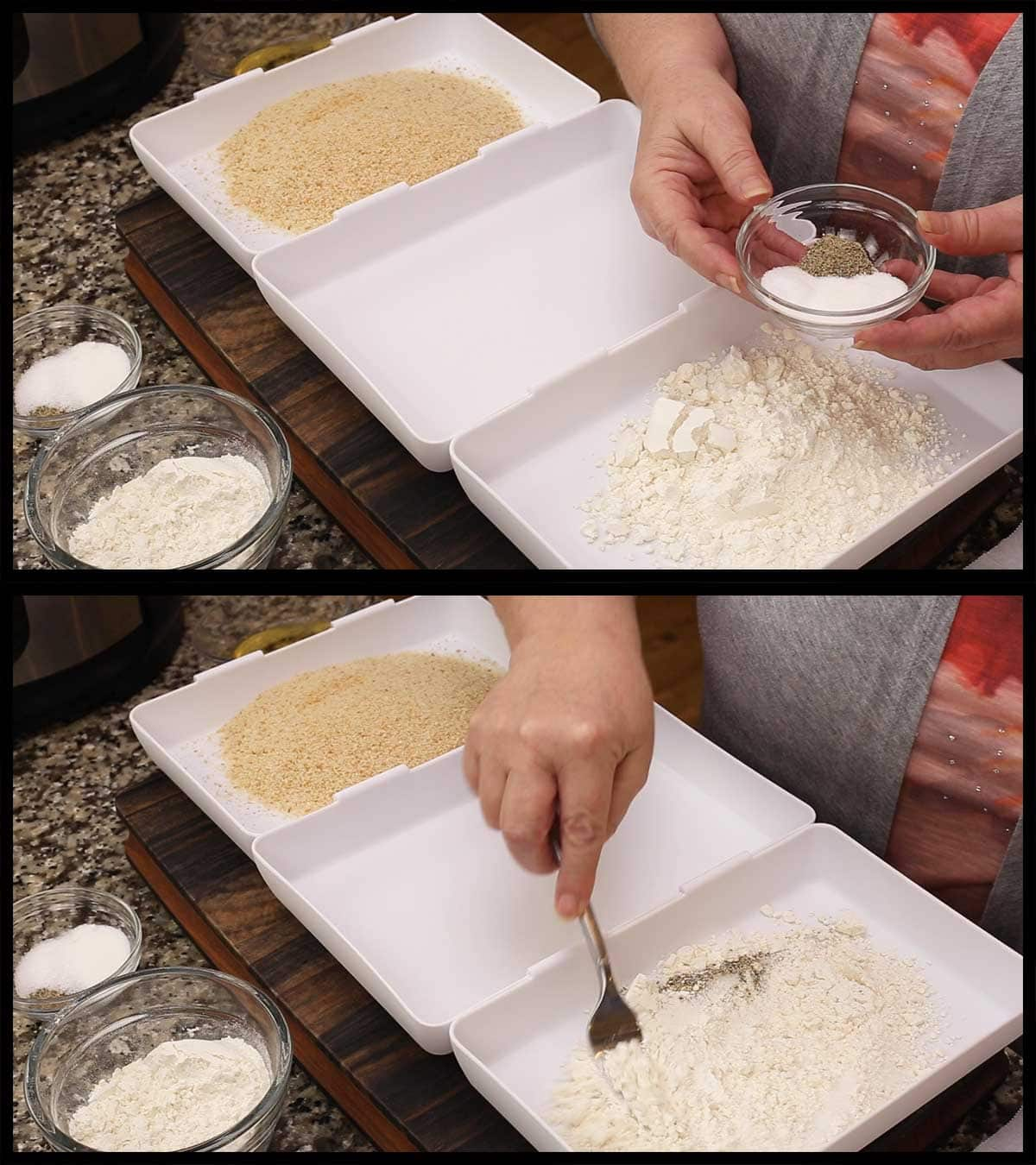 mixing the flour and seasonings in shallow coating tray