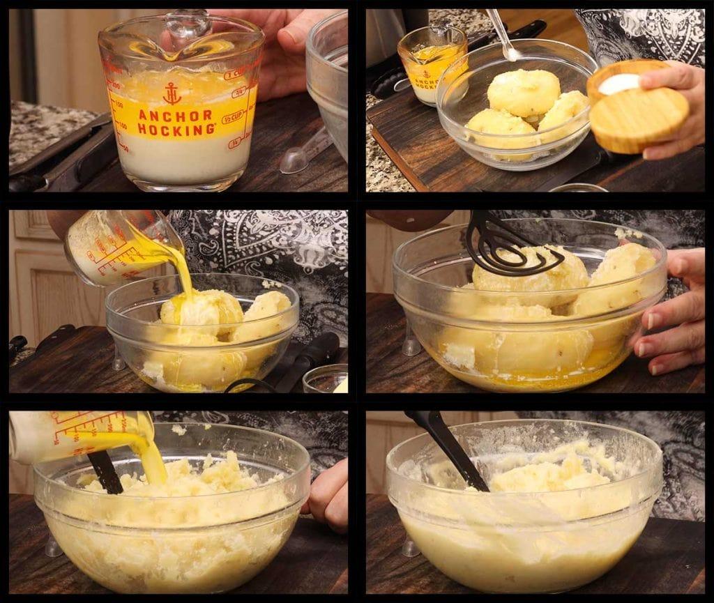 mashing potatoes for colcannon