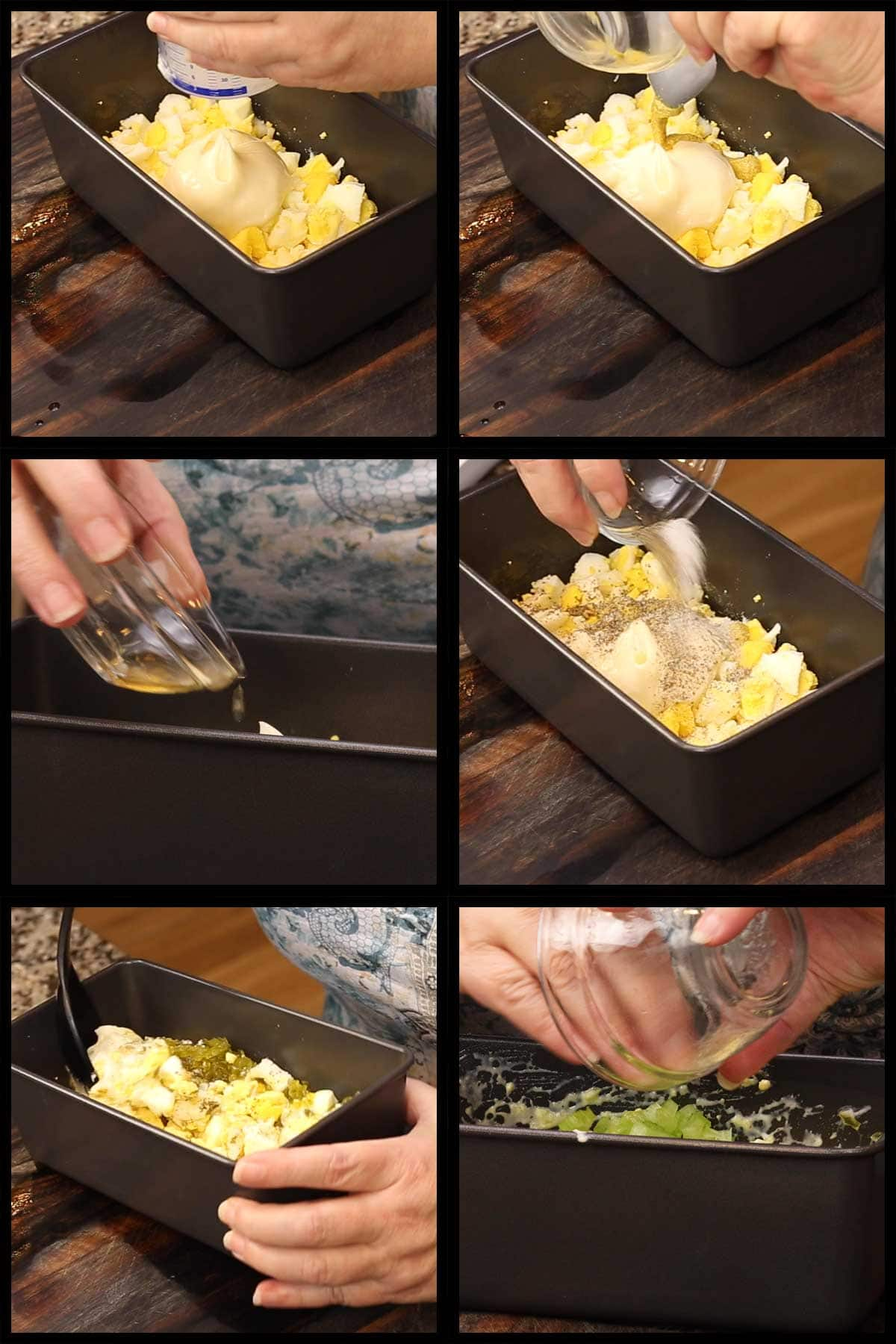 mixing ingredients into eggs to make egg salad