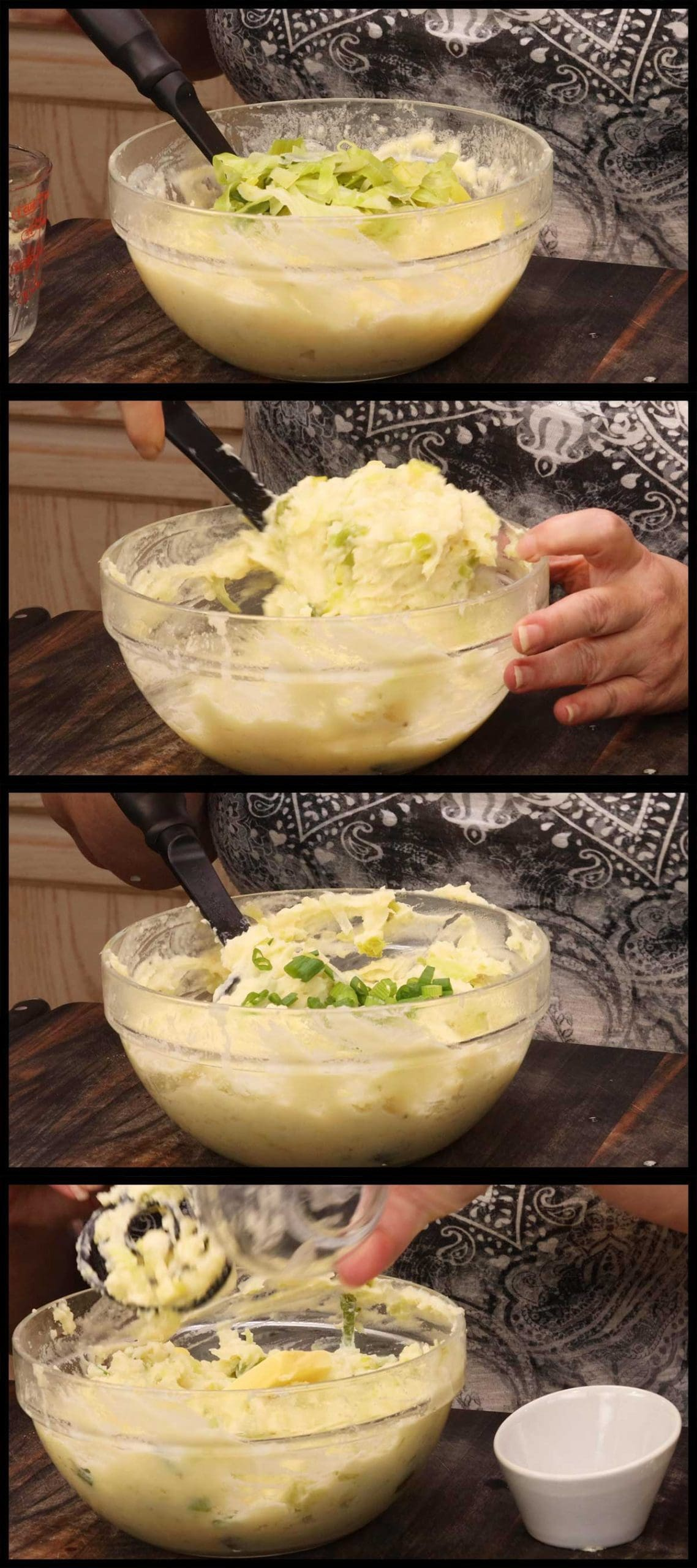 Mixing vegetables into colcannon