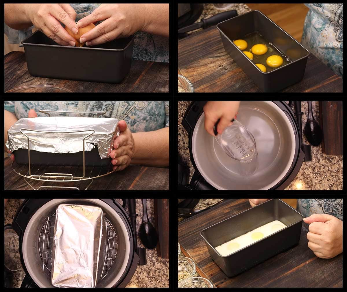 cracking the eggs into a loaf pan and pressure cooking