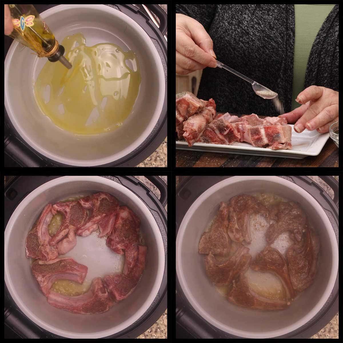 searing lamb in the inner pot of the ninja foodi