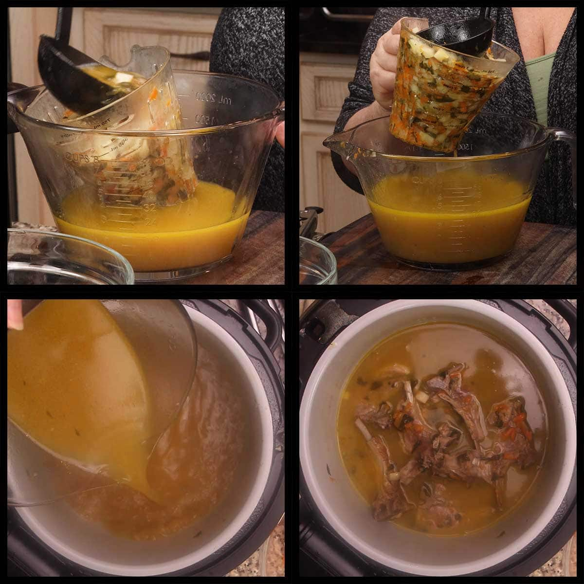 straining the vegetables from the broth