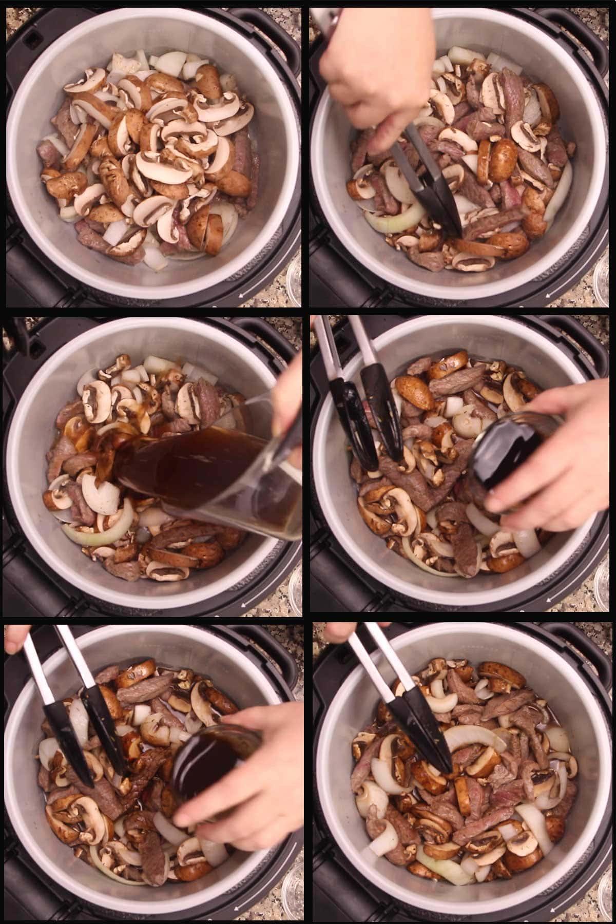 adding mushrooms and deglazing the pot