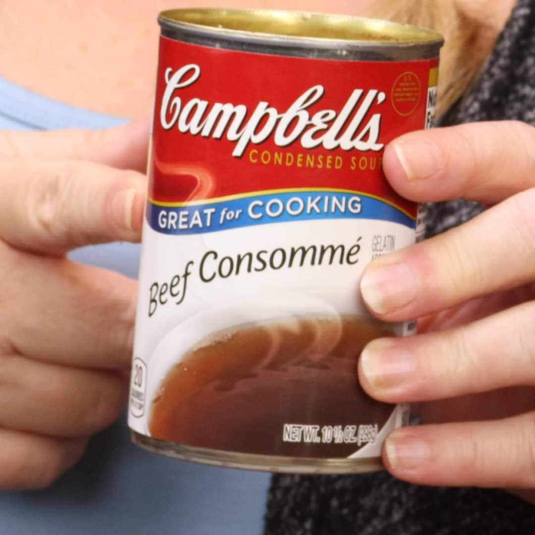 Campbells beef consomme in a can