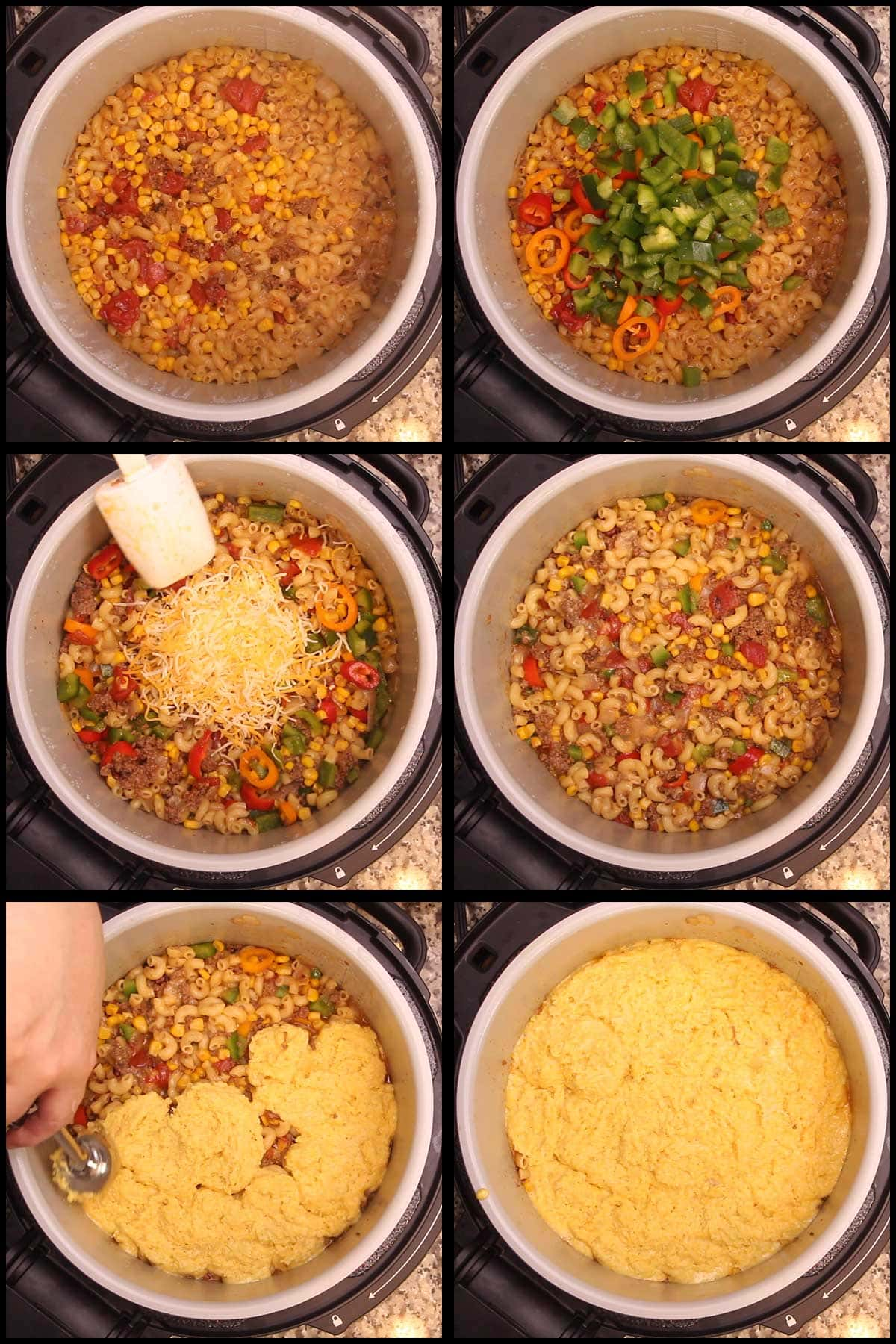 mixing the pepper and cheese into the goulash and scooping on the cornbread topping