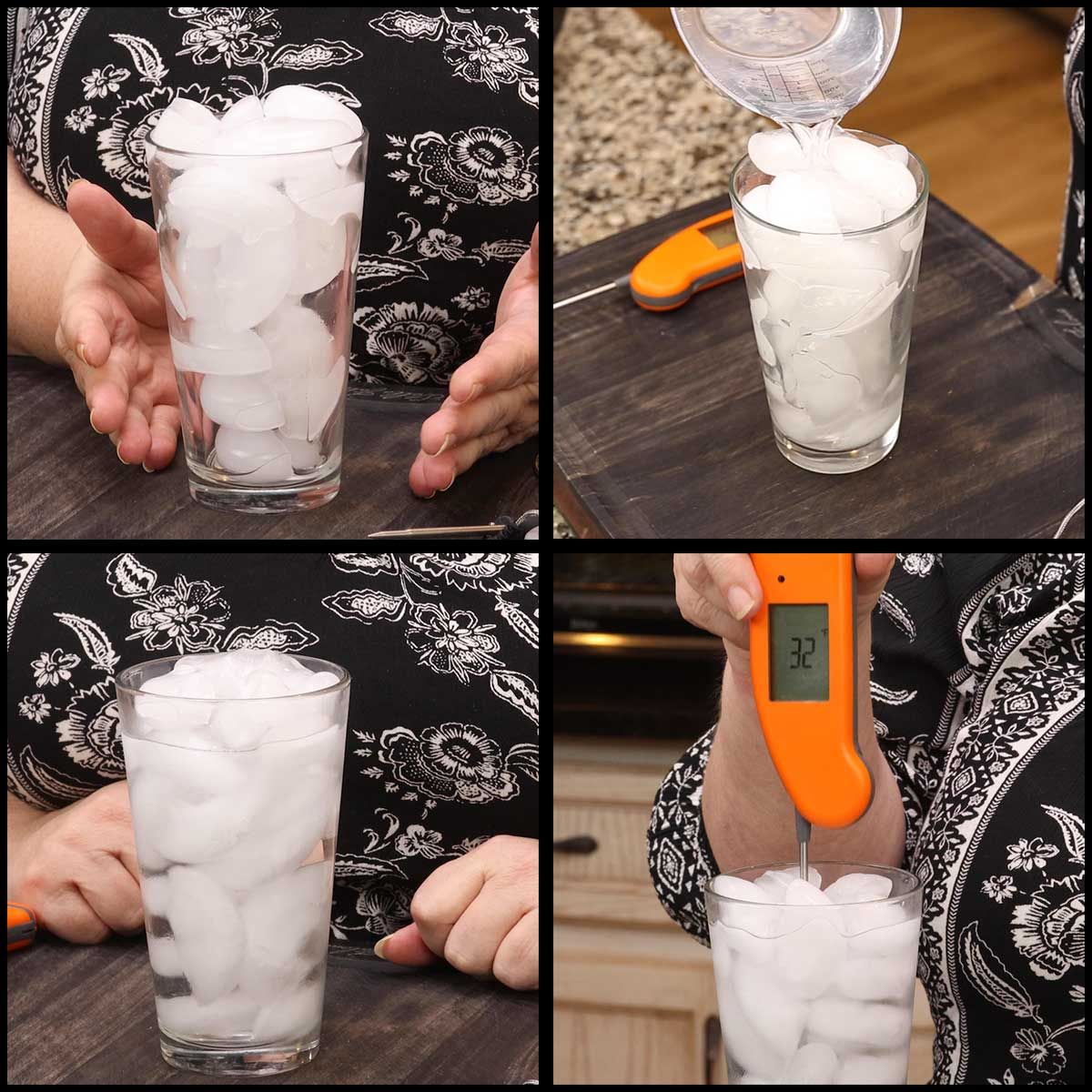 images showing the steps in testing a thermometer for accuracy using the ice bath method