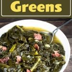 collard greens with broth in a white bowl with a serving spoon
