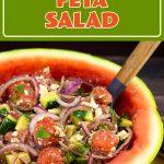 Watermelon Feta Salad in a watermelon bowl