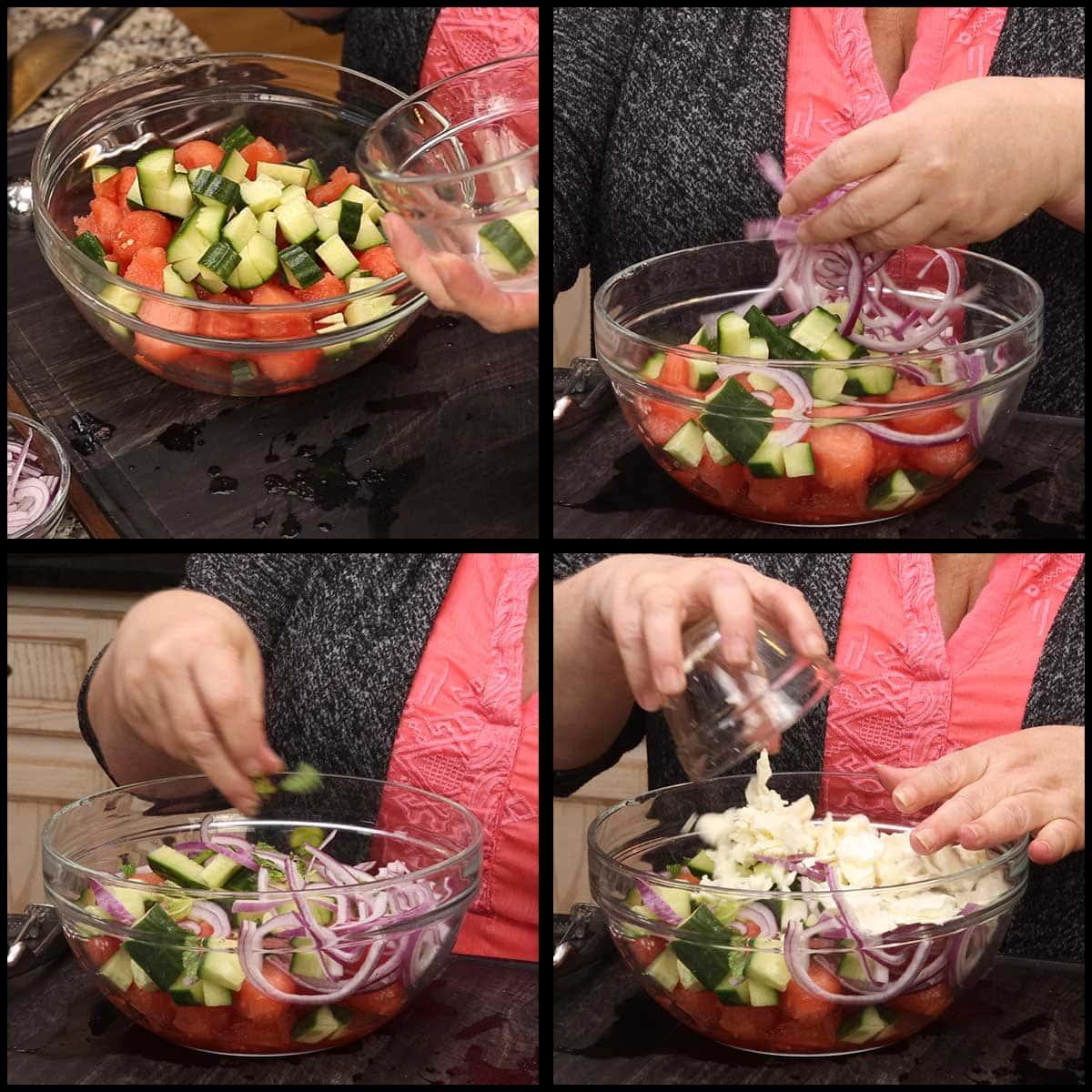 assembling the watermelon feta salad