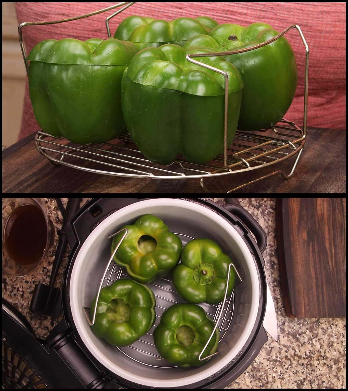peppers on rack and lowered into foodi to make sure they fit