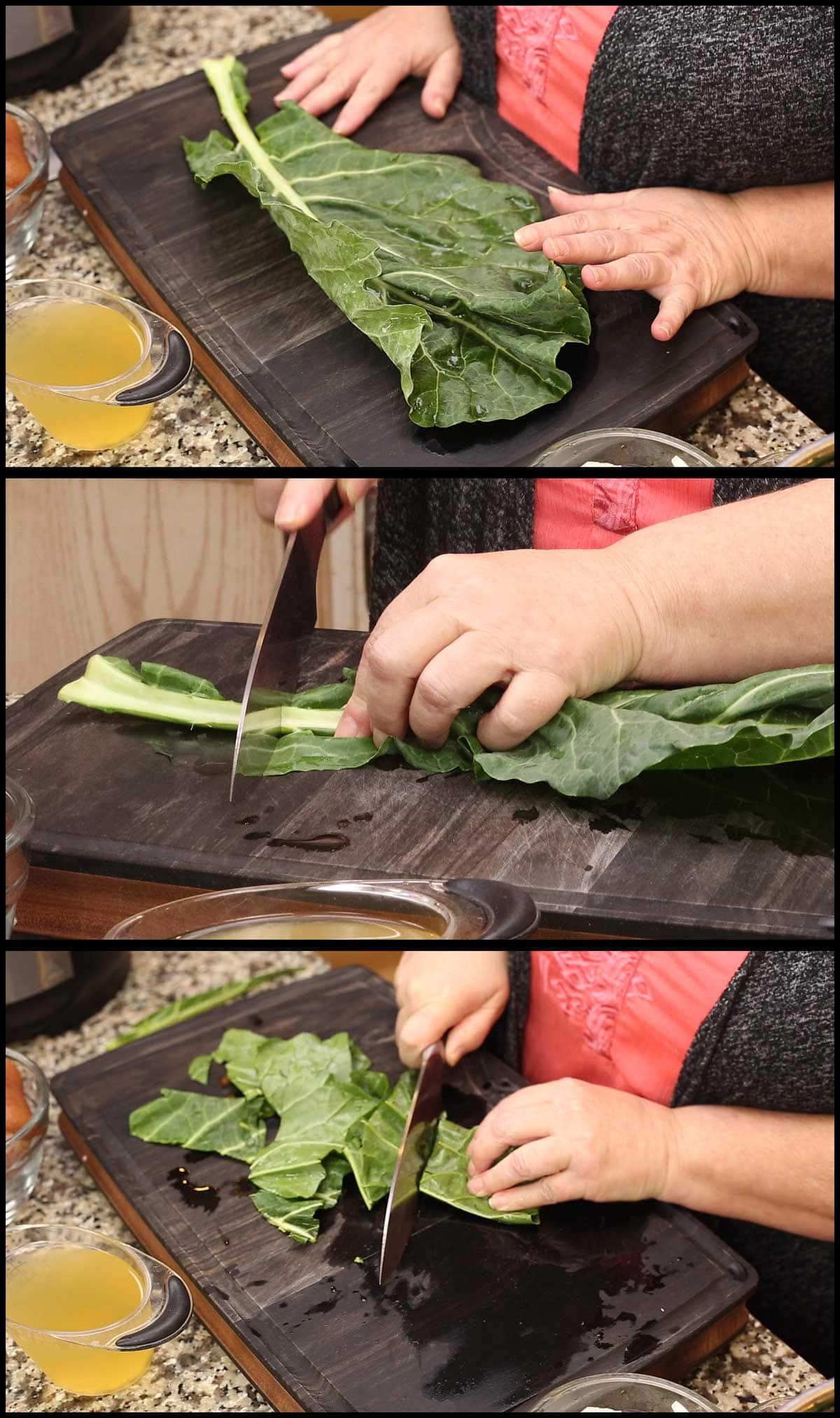 cutting the collard greens into 4 inch pieces