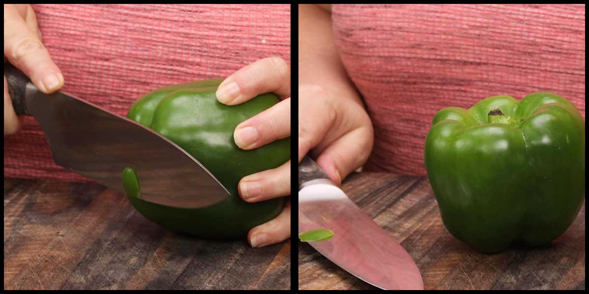 shaving a bit off of the bottom of a pepper so it sits flat