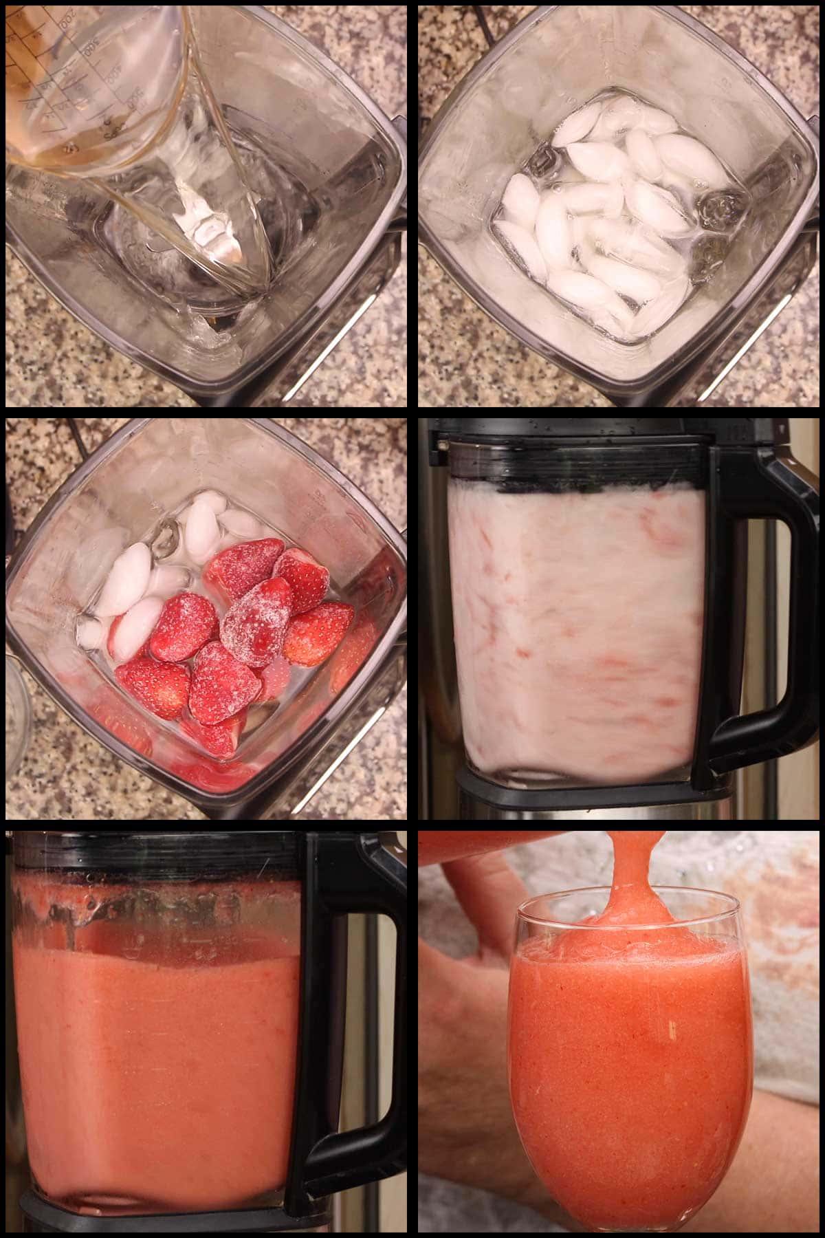 blending and pouring strawberry wine slushies