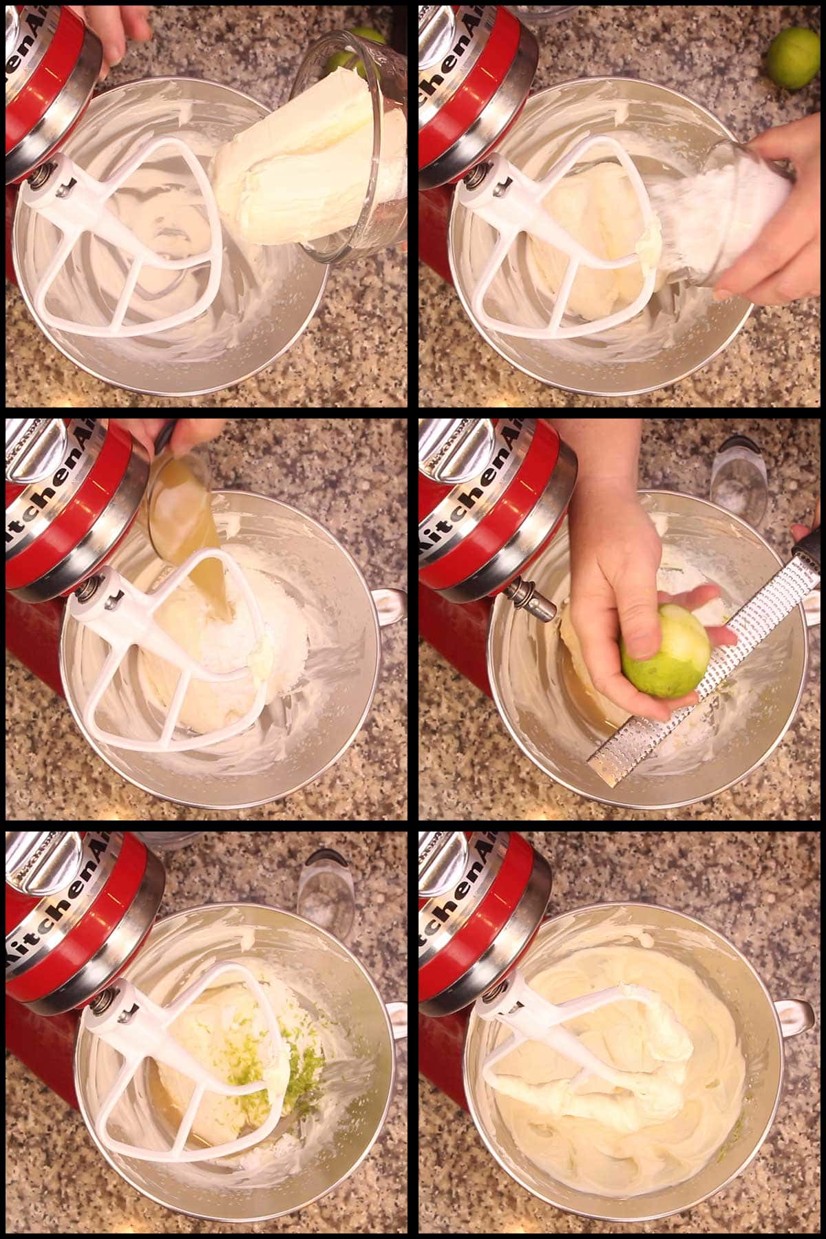 Using a stand mixer to make the cream cheese filling