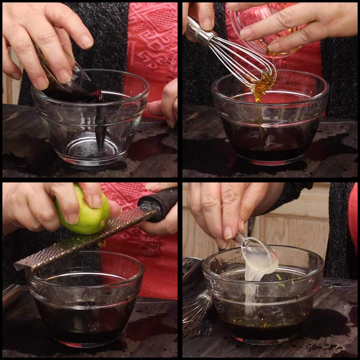 combining ingredients in a small glass bowl for dressing