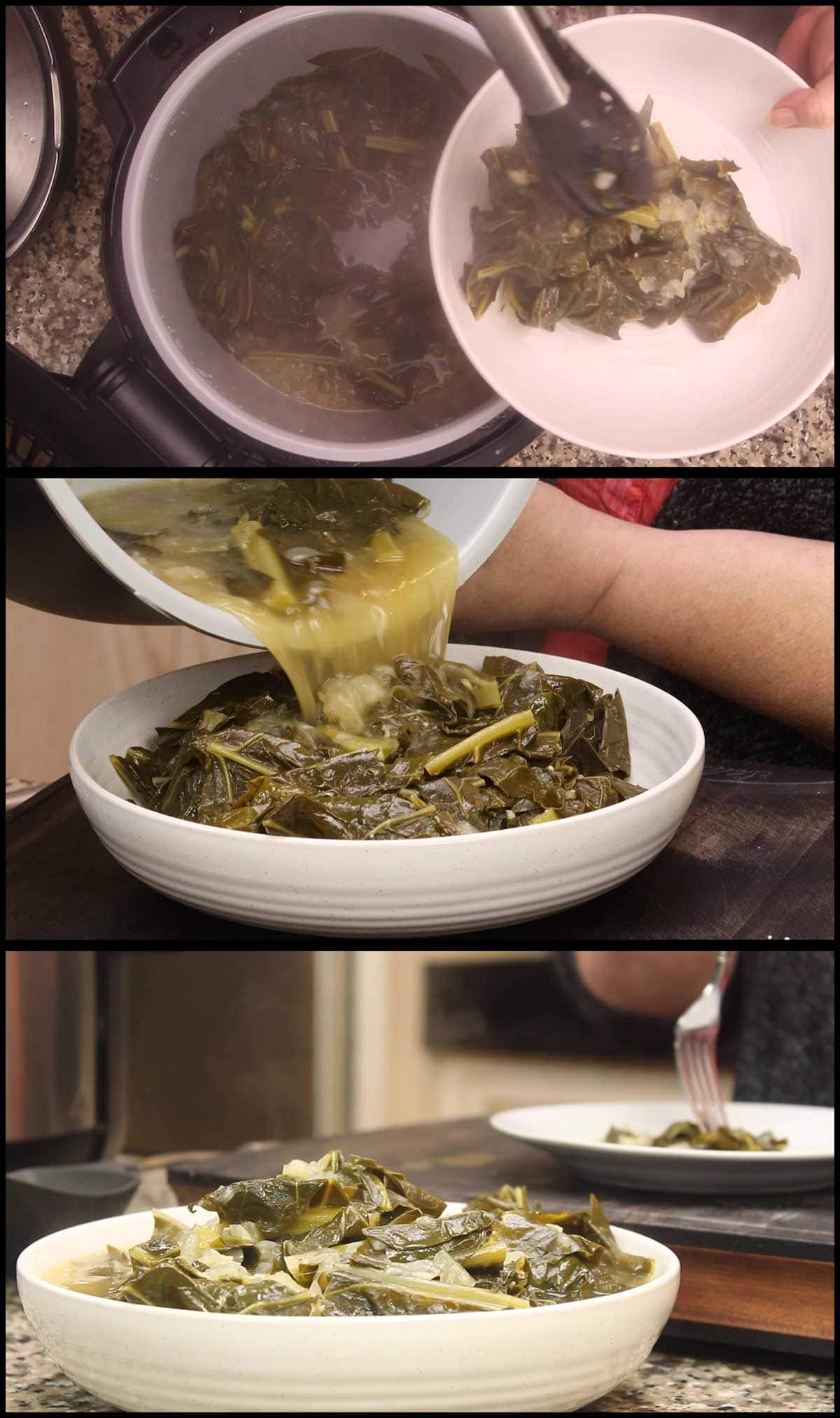 putting collards into a serving bowl and p ouring broth over top of them