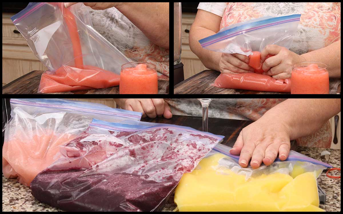 pouring slushies into bags for freezing