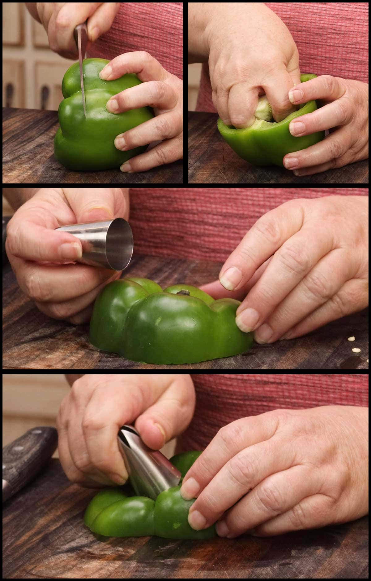 cutting the top off the pepper and cleaning out the inside