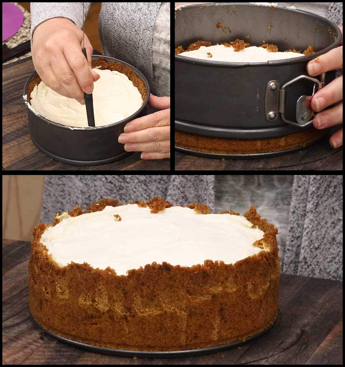 running a cake tester along the sides of the cheesecake and removing the sides of the springform pan