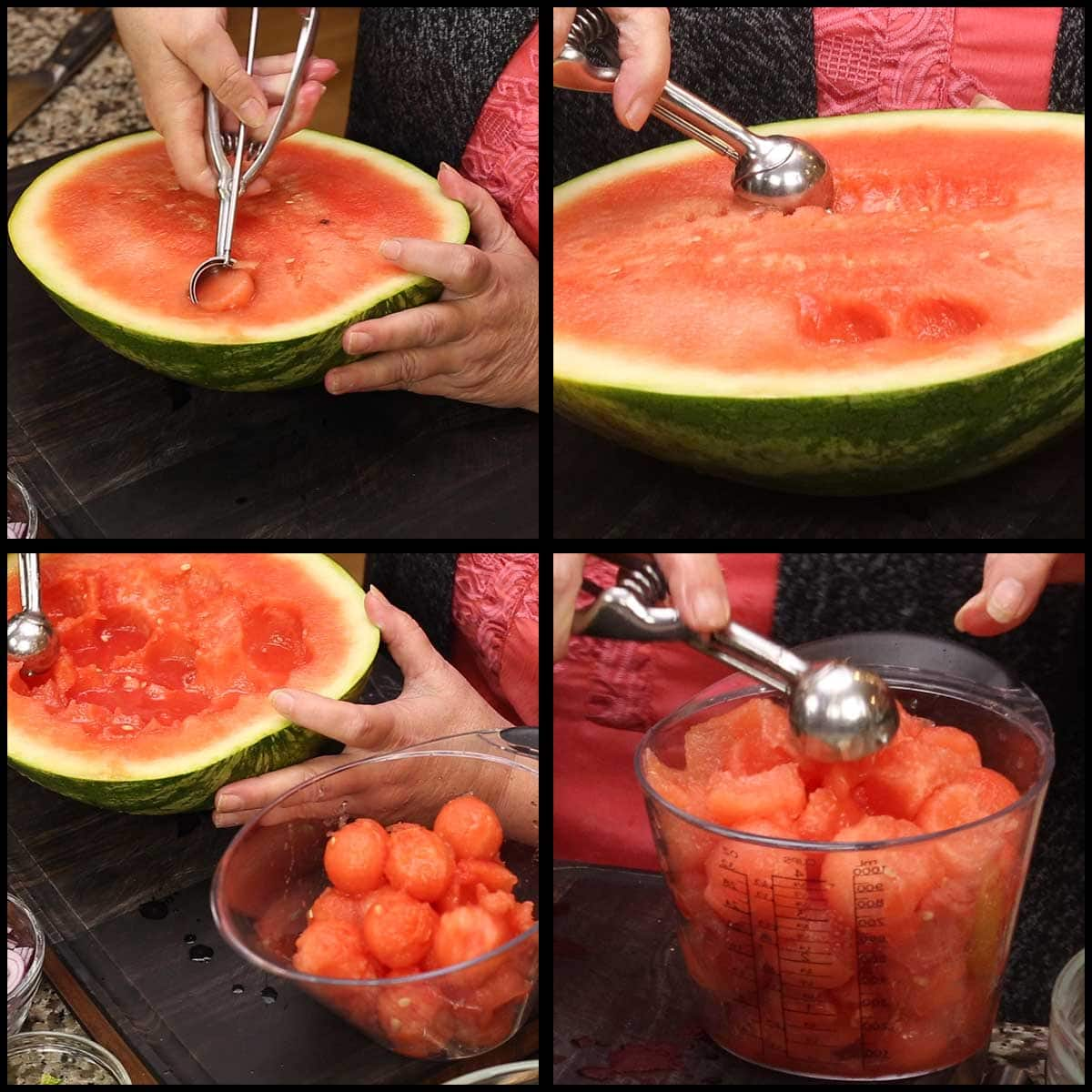 scooping out watermelon from rind