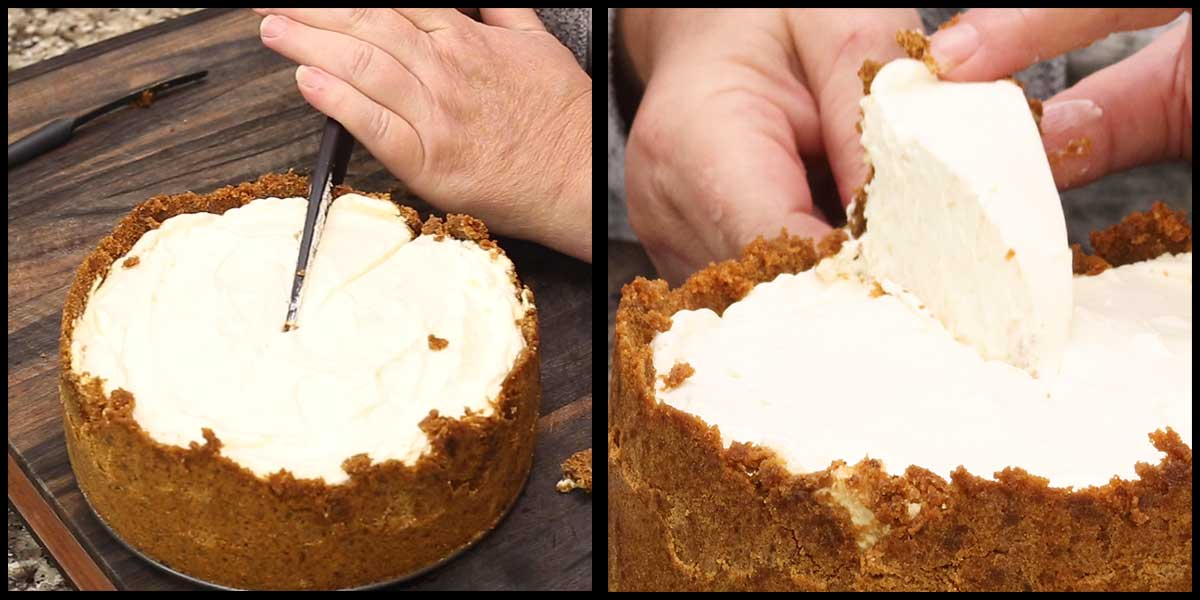 slicing a piece of the key lime cheesecake