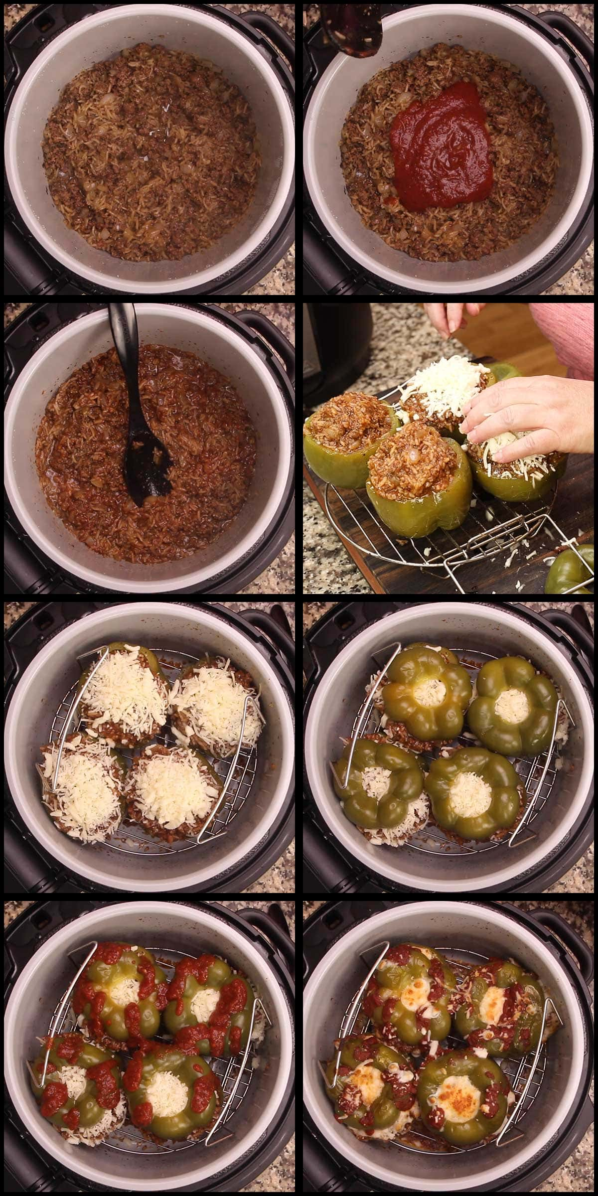 stuffing the peppers and broiling the cheese on top