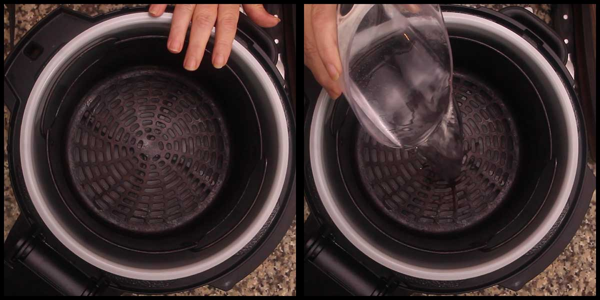 putting water in the inner pot with the basket in