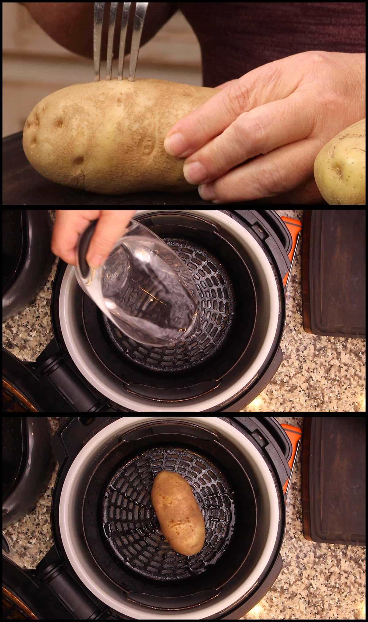poking holes in potato and putting water and potato into the pressure cooker for cooking