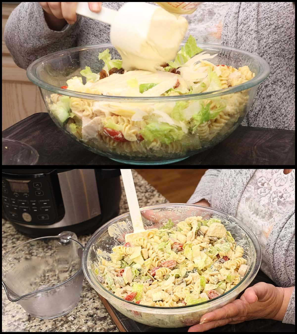 adding the remaining caesar dressing and mixing the pasta salad before serving
