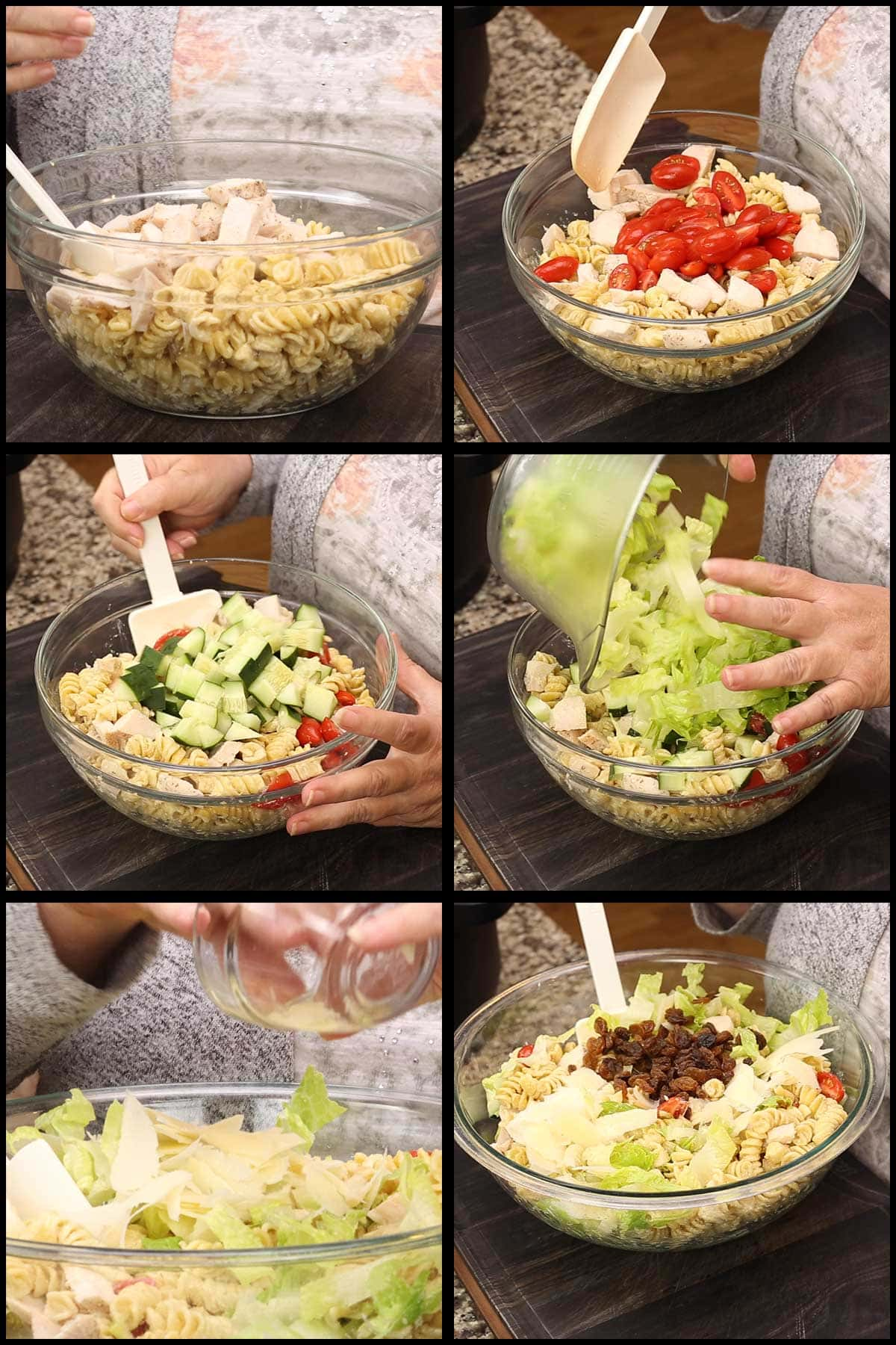 adding the chicken, vegetables, parmesan, raisins to the chilled pasta in a large glass bowl