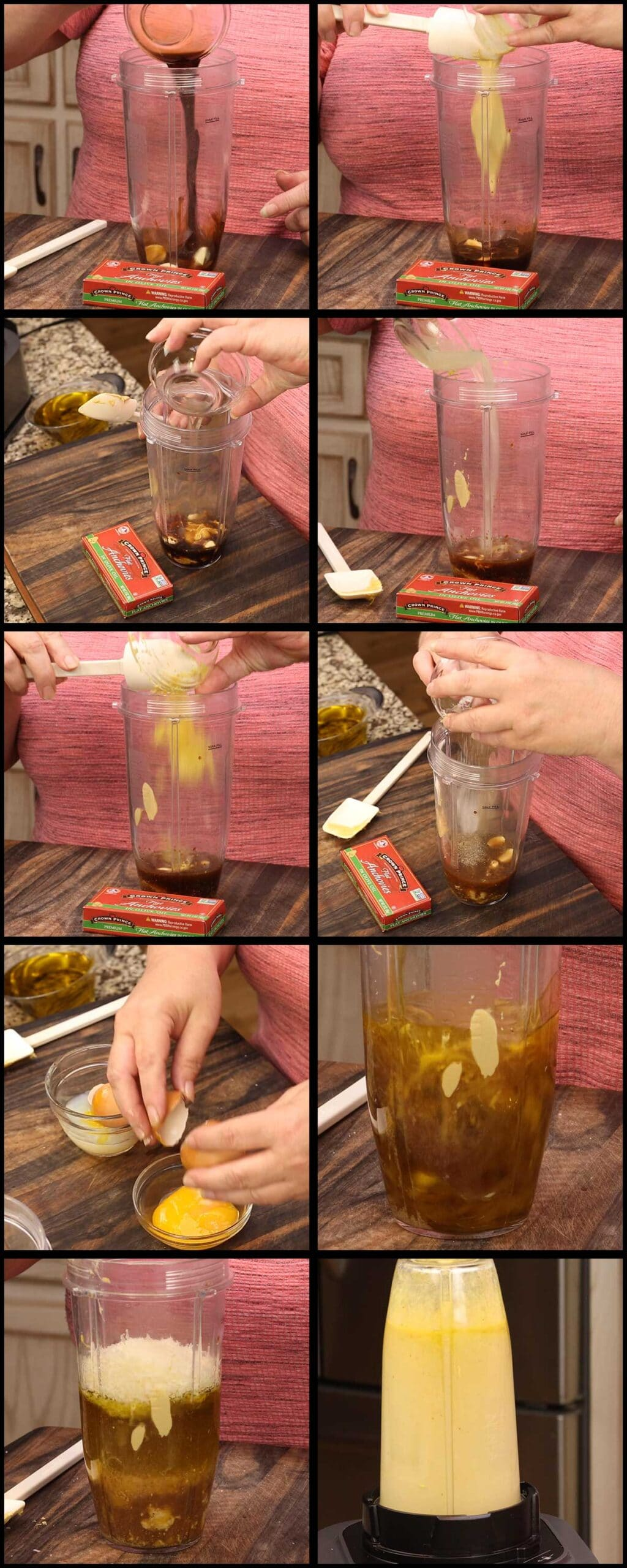 collage of ingredients going in the blender and being blended